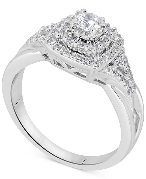 Macy's Diamond Tiered Halo Bridal Set (5/8 ct. t.w.) in 14k White Gold