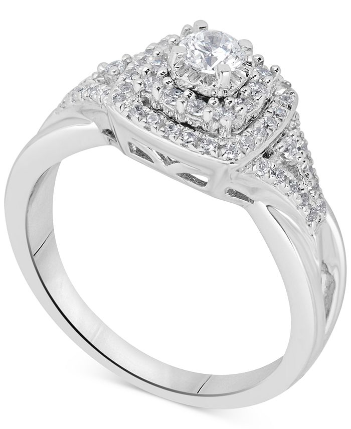 Macy's - Diamond Tiered Halo Engagement Ring (5/8 ct. t.w.) in 14k White Gold