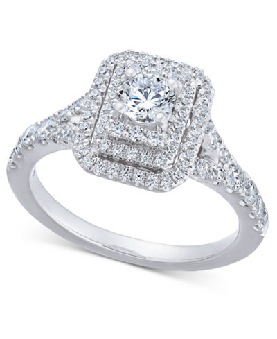 Diamond Elevated Halo Engagement Ring (1 ct. t.w.) in 14k White Gold