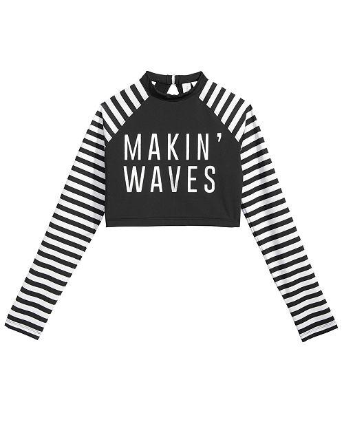 a9413ac245 ... Ideology Makin' Waves Cropped Rash Guard Swim Top, Big Girls, Created  for Macy's ...
