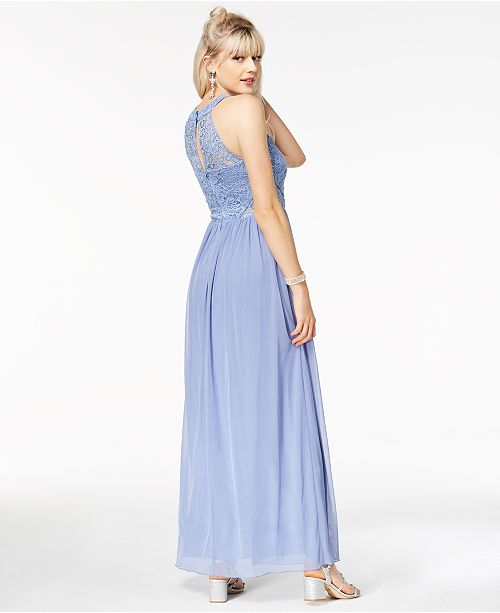 Bcx Juniors Embellished Lace Halter Gown Created For Macys