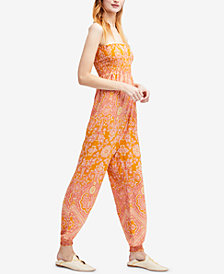 Free People Thinking Of You Printed Strapless Jumpsuit