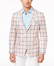 Tallia Orange Men's Modern-Fit Pink/Blue Windowpane Sport Coat