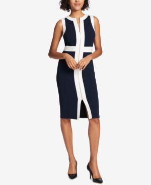 ZIP-FRONT SCUBA DRESS