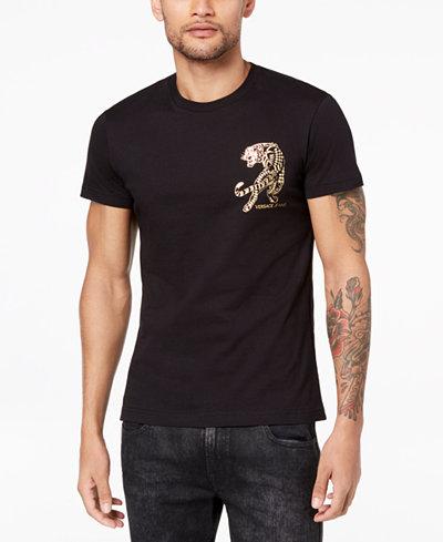 Versace Men's Gold-Foil Graphic-Print T-Shirt