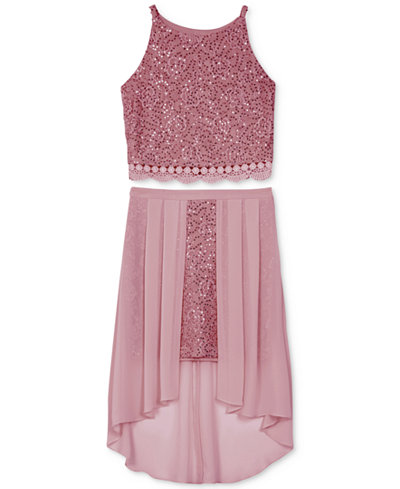 BCX 2-Pc. Lace Dress Set, Big Girls