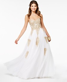 Say Yes to the Prom Juniors' Beaded Corset-Back Gown, Created for Macy's