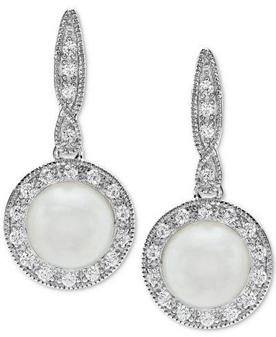 Cultured Freshwater Pearl (7mm) & Swarovski Zirconia Drop Earrings in Sterling Silver