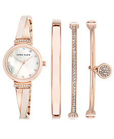 Anne Klein Women's Rose Gold-Tone Bangle Bracelet Watch 26mm Gift Set