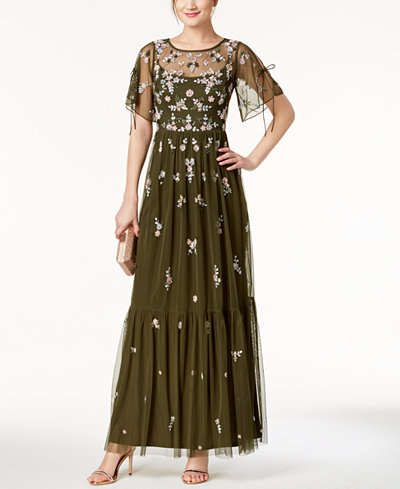 Adrianna Papell Boho Beaded Mesh Gown