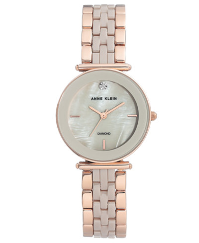 Anne Klein Women's Diamond-Accent Rose Gold-Tone & Taupe Ceramic Bracelet Watch 30mm