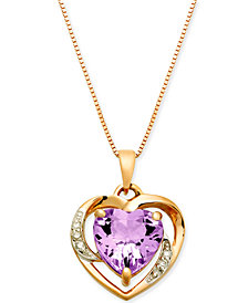 "Pink Amethyst (1-3/4 ct. t.w.) & Diamond Accent 18"" Pendant Necklace in 14k Rose Gold"
