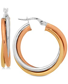Tri-Color Twist Hoop Earrings in 14k Gold, White Gold & Rose Gold
