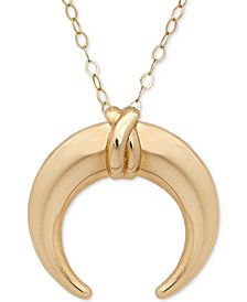 "18"" Polished Horn Pendant Necklace in 10k Gold"