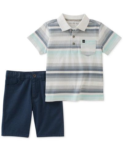 Calvin Klein 2-Pc. Striped Polo & Cotton Shorts Set, Toddler Boys