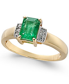 Emerald (9/10 ct. t.w.) & Diamond Accent Ring in 14k Gold
