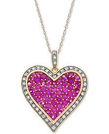 Lab-Created Ruby (2-1/5 ct. t.w.) & White Sapphire (1/5 ct. t.w.) Pavé Heart Pendant Necklace in 14k Gold Plated over Sterling Silver