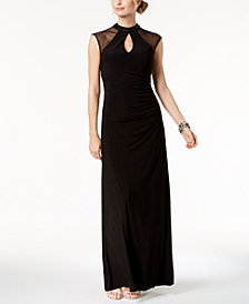 B&A by Betsy & Adam Mesh Keyhole Mock-Neck Gown