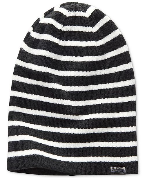 G-Star Raw Men s Effo Long Stripe Double-Layer Rib-Knit Beanie - Hats - Men  - Macy s 270165513f76