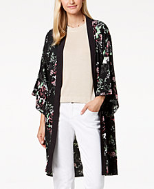 Steve Madden Floral-Print Duster Cape