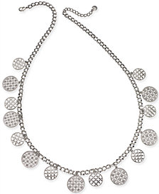 "Charter Club Silver-Tone Crystal Long Necklace, 30"" + 2"" extender, Created for Macy's"