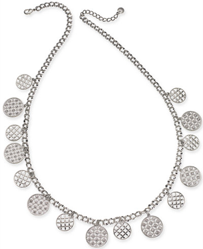 Charter Club Silver-Tone Crystal Long Necklace, 30