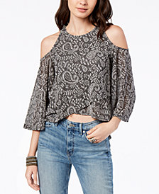 Lucky Brand High-Low Cold-Shoulder Top