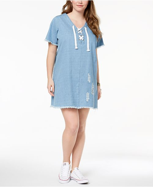 Planet Gold Trendy Plus Size Cotton Ripped Chambray Dress Dresses