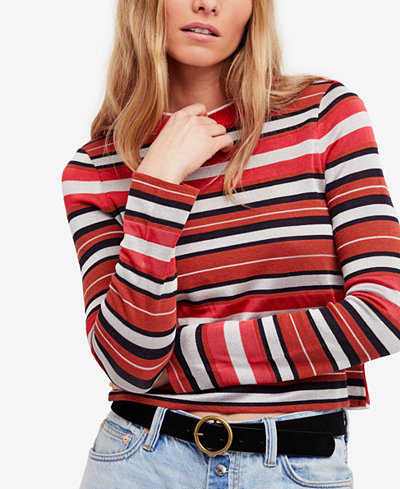 Free People New Age Striped Cropped Sweater