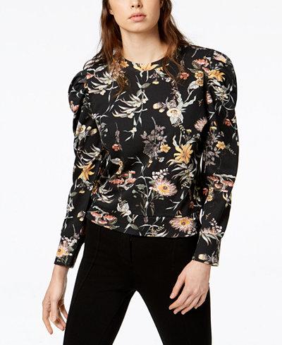 Bar III Floral-Print Puffed-Sleeve Sweatshirt, Created for Macy's