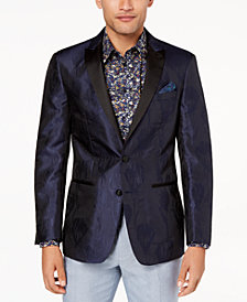 CLOSEOUT! Tallia Orange Men's Modern-Fit Navy Textured Floral Dinner Jacket