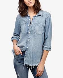 Lucky Brand Cotton Denim Boyfriend Shirt