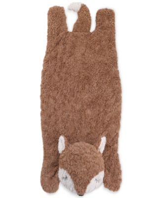 Luxury Plush Tummy Time Mat Blanket Brown Fox
