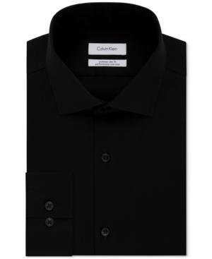 Calvin Klein Men's Steel Extra-Slim Fit Non-Iron Performance Herringbone Dress Shirt