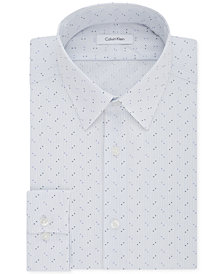 Calvin Klein Men's STEEL Slim-Fit Non-Iron Performance Stretch Purple Print Dress Shirt