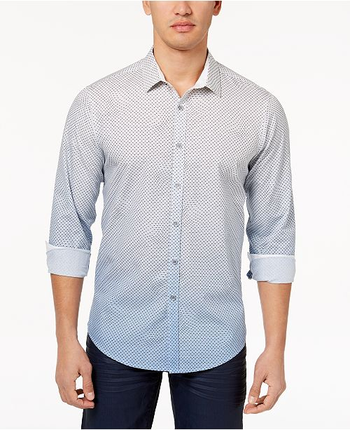 INC International Concepts I.N.C. Men's Ombré Geometric Pattern Shirt, Created for Macy's