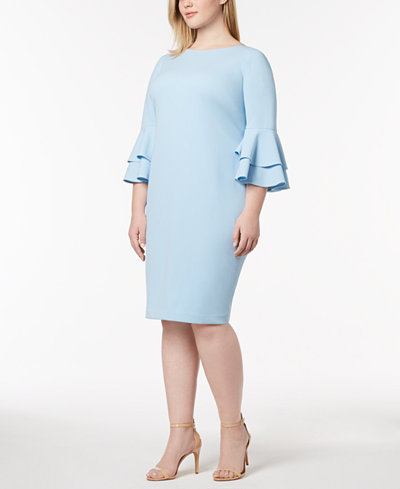 Calvin Klein Plus Size Tiered-Bell-Sleeve Dress