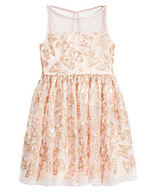 Crystal Doll Butterfly Sequin Dress, Big Girls