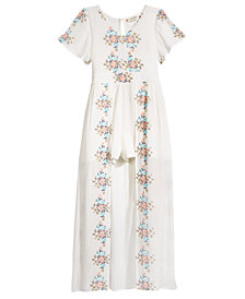 Crystal Doll Embroidered Maxi Romper, Big Girls