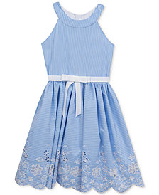 Rare Editions Striped Embroidered Dress, Big Girls
