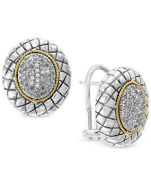 EFFY Collection EFFY® Diamond Cluster Stud Earrings (3/8 ct. t.w.) in Sterling Silver & 18k Gold