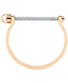 Charriol White Topaz Bangle Bracelet (3/8 ct. t.w.) in Stainless Steel & Rose Gold-Tone PVD Stainless Steel