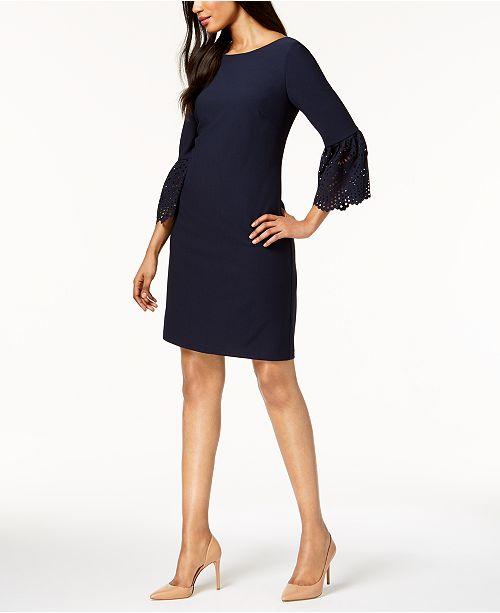 62af93aefac5 Jessica Howard Lasercut Bell-Sleeve Dress & Reviews - Dresses ...