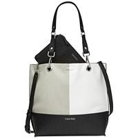 Calvin Klein Sonoma Reversible Novelty North/South Tote (Black Combo/Silver)