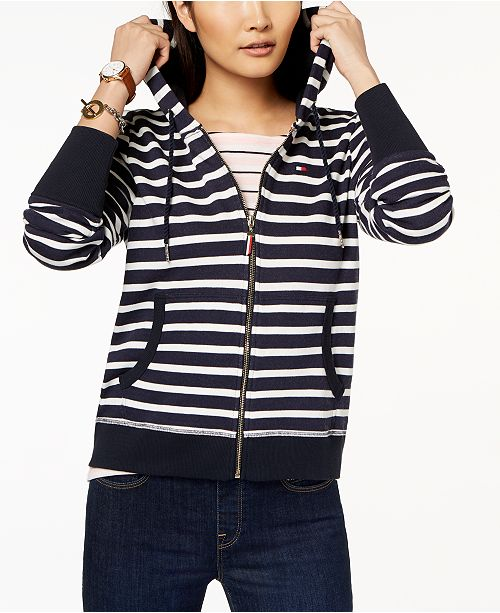 6c0258b3f Tommy Hilfiger Striped Hoodie, Created for Macy's & Reviews - Tops ...