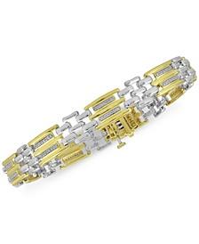 Men's Diamond Two-Tone Bracelet (1/2 ct. t.w.) in Sterling Silver & 18k Gold-Plate