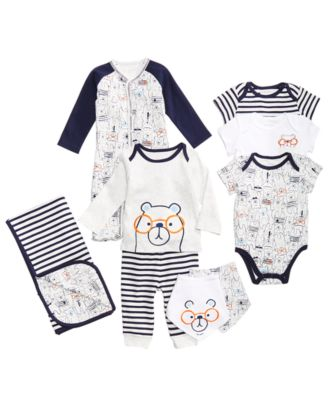 Baby Boys 2-Pack Bear-Print Cotton Bibs, Created for Macy's