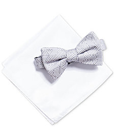 Alfani Men's Geometric Bow Tie & Solid Pocket Square Set, Created for Macy's