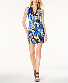 Just Cavalli Printed Mesh-Trim Dress