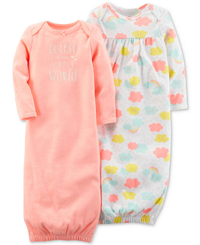 Carter's 2-Pack Graphic-Print 1-Pc. Cotton Sleeper Gowns, Baby Girls
